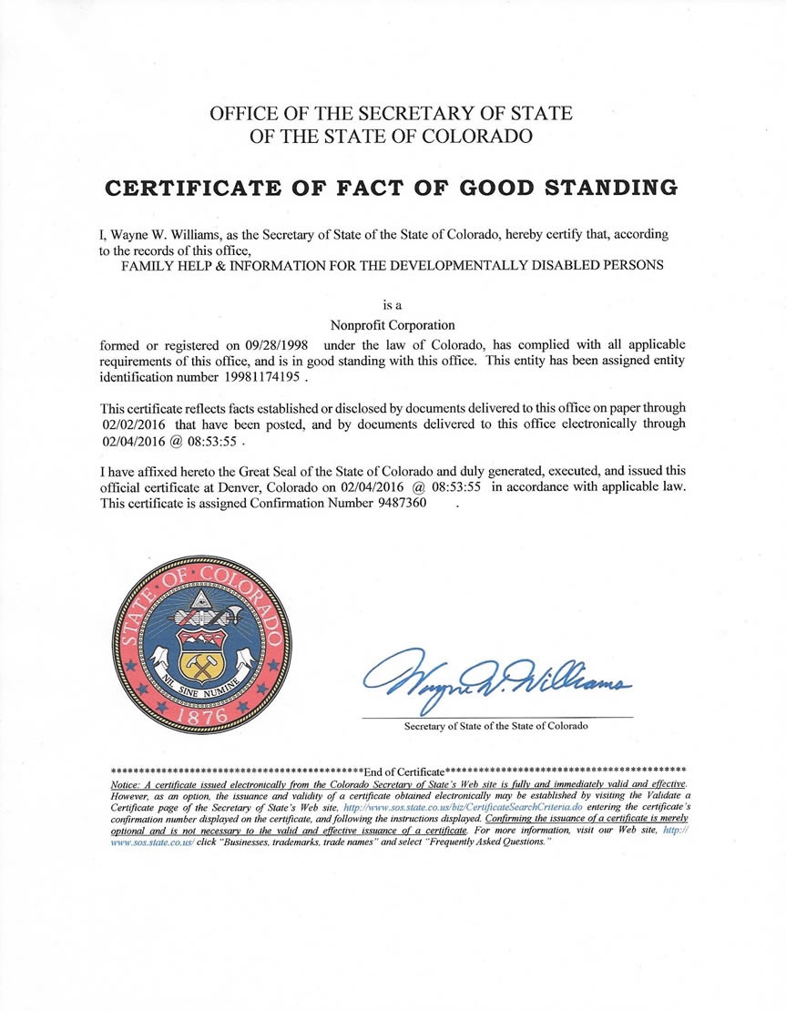 Family help information for the developmentally disabled persons certificate of good standing 1betcityfo Gallery